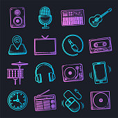 Music, fame and influence neon doodle style outline symbols on dark background. Vector icons set for infographics, mobile or web page designs.