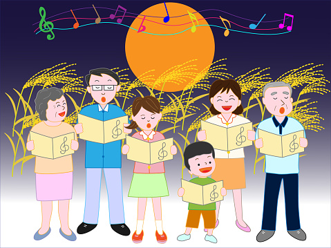 Music Family Fall Stock Illustration - Download Image Now