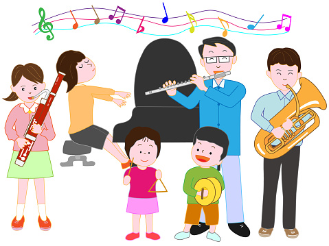 Music Family - Stockowe grafiki wektorowe i więcej obrazów Akordeon - instrument