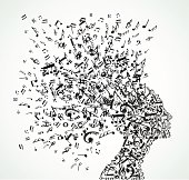Musical notes woman profile. Vector illustration layered for easy manipulation and custom coloring.