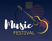 Music festival background vector.  Geometric forms and stylized guitar backdrop.