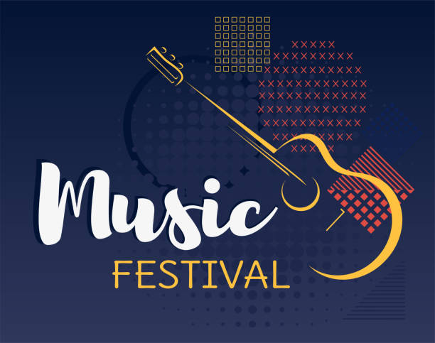 ilustrações, clipart, desenhos animados e ícones de vetor de fundo festival de música. - músico