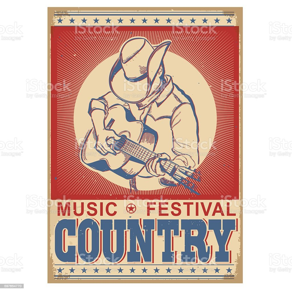 music festival background with musician playing guitar. vector art illustration