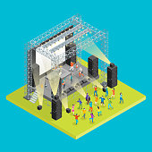 Music Festival Concept 3d Isometric View Concert Party Elements Landscape Background and Stage. Vector illustration of Musical Event