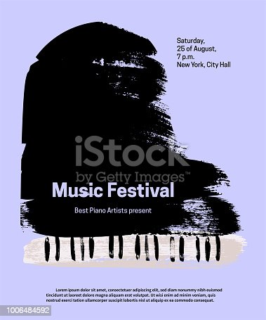 Music festival design template. Vector piano, painted with brush strokes and text on blue background.