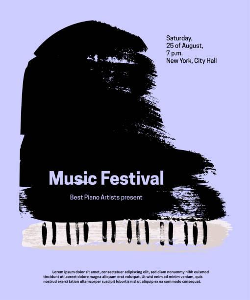 bildbanksillustrationer, clip art samt tecknat material och ikoner med music festival formgivningsmall. vector piano, målade med penseldrag och text på blå bakgrund. - orkester