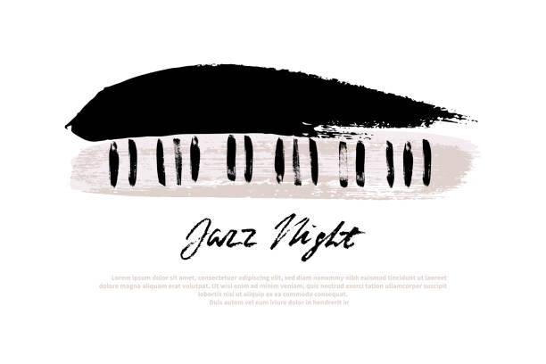 müzik festivali tasarım şablonu. vektör piyano, fırça darbeleri ve beyaz arka plan üzerinde jazz gece metin ile boyalı. - piano stock illustrations
