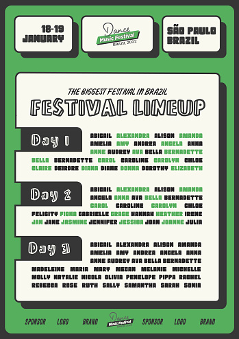 Music Festival DJ Musician Lineup Poster or Flyer for Night Club or Live Music Event Banner in Funky Green Style