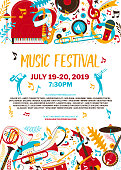 Music festival flat vector poster template. Jazz day, blues concert web banner with text space. Trumpet and sax players silhouettes illustration. Rock and roll band performance advertising brochure