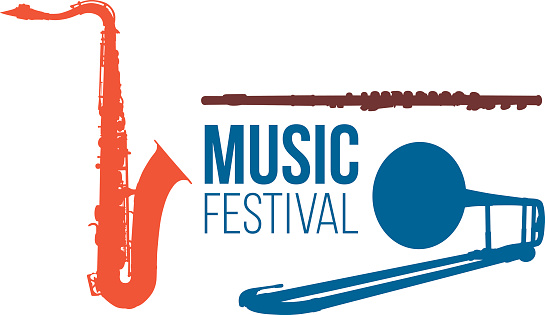 Music festival graphic with instruments