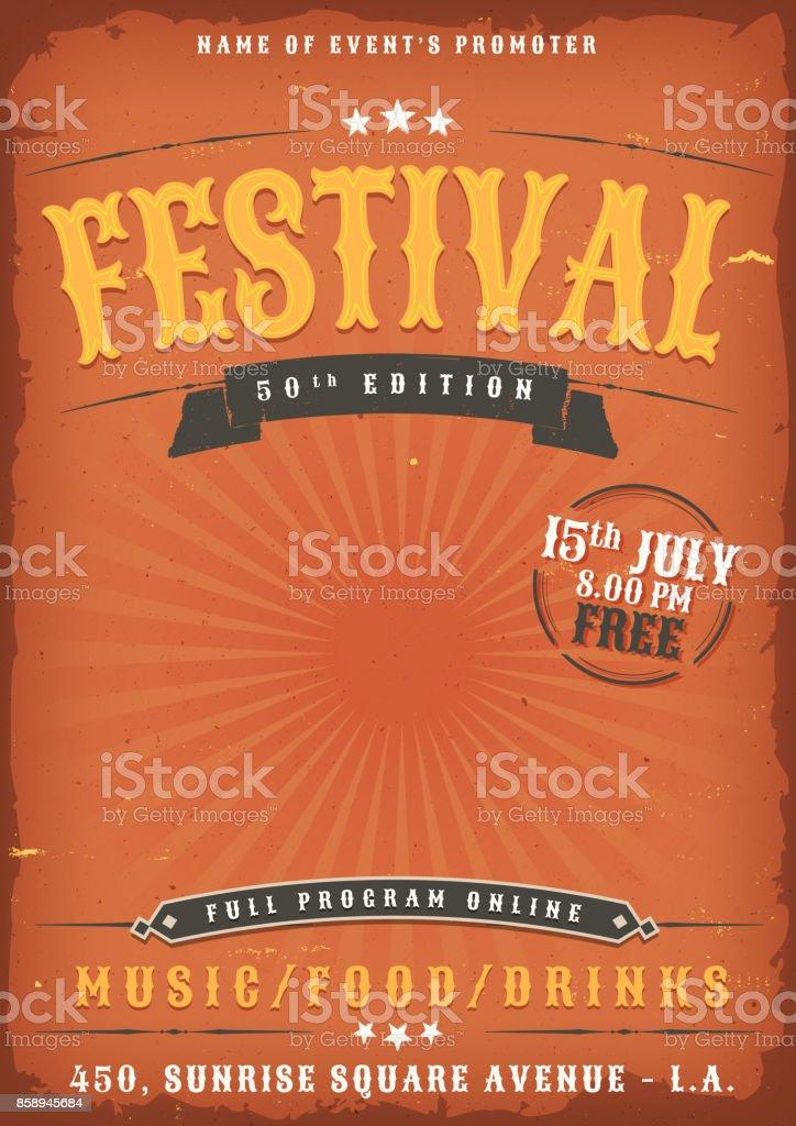 Music Festival Grunge Poster vector art illustration