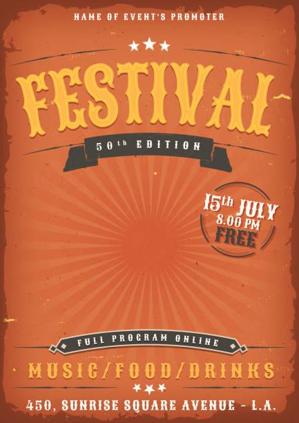 bildbanksillustrationer, clip art samt tecknat material och ikoner med music festival grunge affisch - traditionell festival