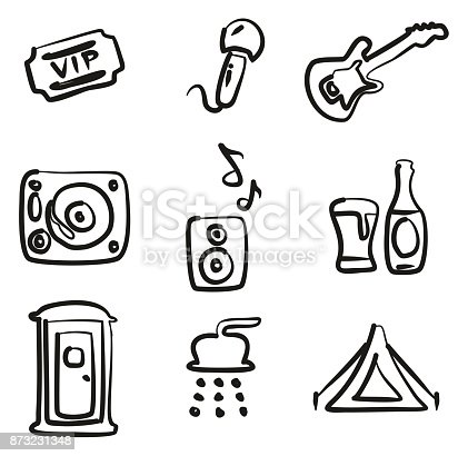 Music Festival Icons Freehand Stock Vector Art More Images Of