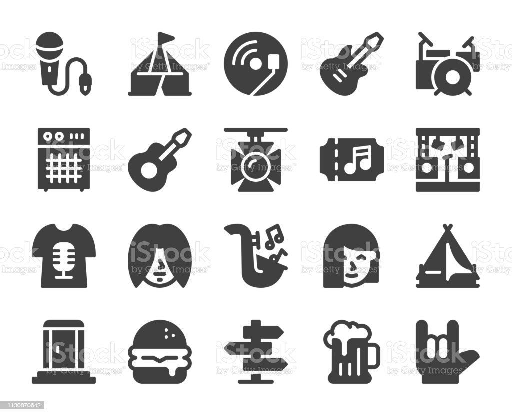 Music Festival - Icons vector art illustration