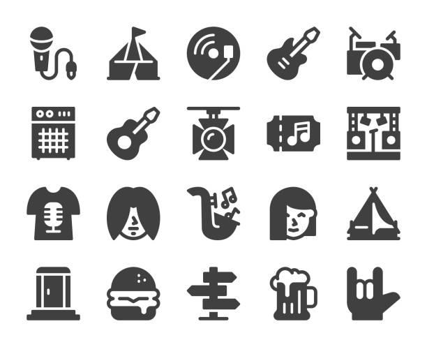 Music Festival - Icons Music Festival Icons Vector EPS File. portable toilet stock illustrations