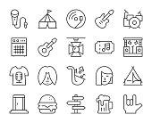istock Music Festival - Light Line Icons 1153608544