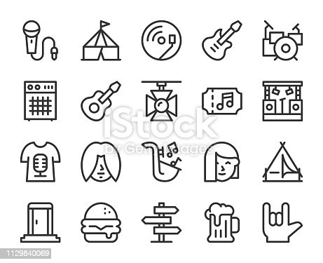 Music Festival Line Icons Vector EPS File.
