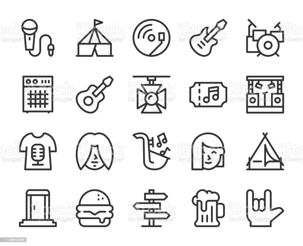 Music Festival - Line Icons vector art illustration