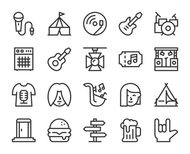 illustrazioni stock, clip art, cartoni animati e icone di tendenza di music festival - line icons - concerto