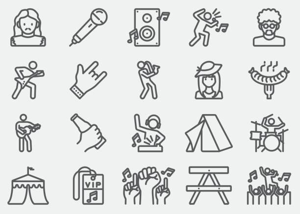 illustrations, cliparts, dessins animés et icônes de icônes de ligne festival de musique - icônes musique