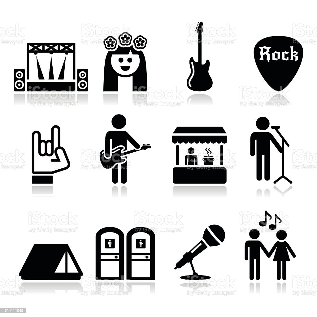 Music festival, live concert vector icons set vector art illustration