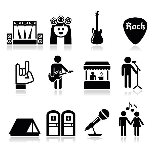 Music festival, live concert vector icons set Rock'n'roll, music event icons set isolated on white portable toilet stock illustrations
