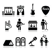 Music festival, live concert vector icons set