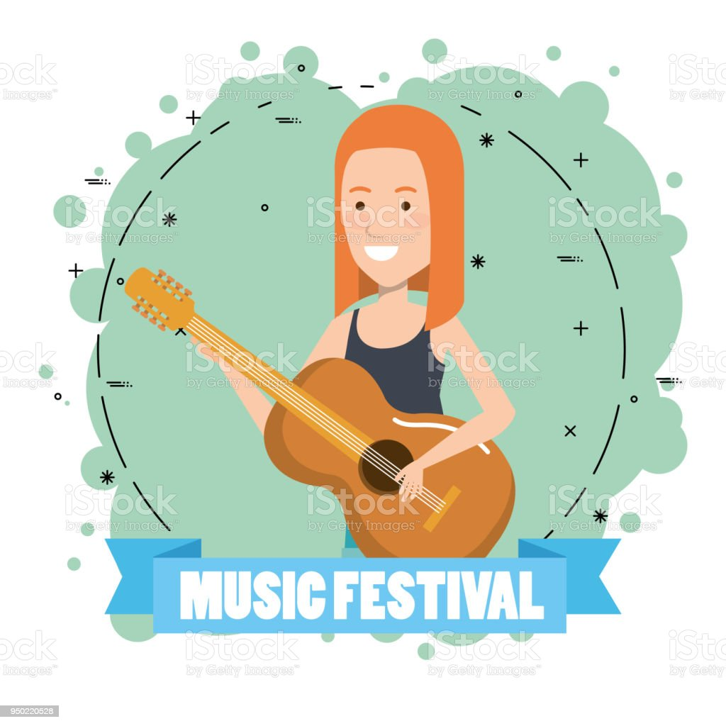 Music Festival Live With Woman Playing Acoustic Guitar Stock