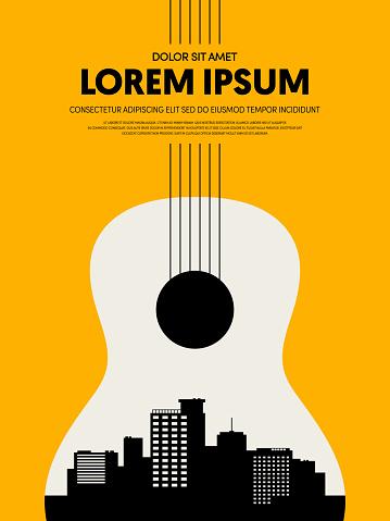 Music festival poster design template modern vintage retro style