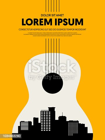 Music festival poster design template modern vintage retro style. Can be used for background, backdrop, banner, brochure, leaflet, publication, vector illustration