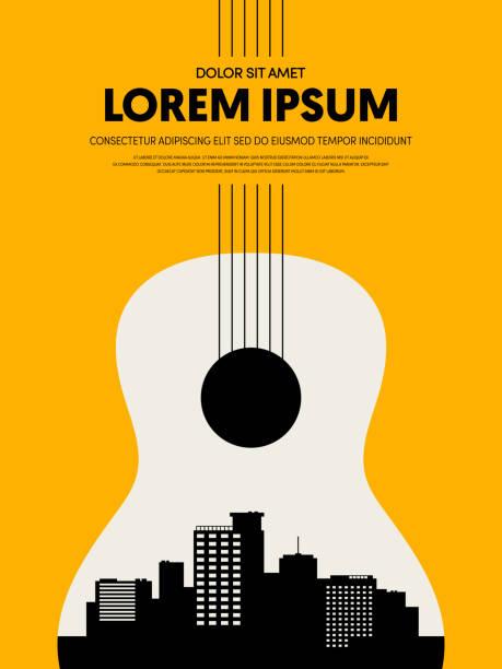 illustrazioni stock, clip art, cartoni animati e icone di tendenza di music festival poster design template modern vintage retro style - concerto