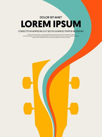 Music festival poster design template modern vintage retro style. Can be used for background, backdrop, banner, brochure, leaflet, publication, advertising, vector illustration