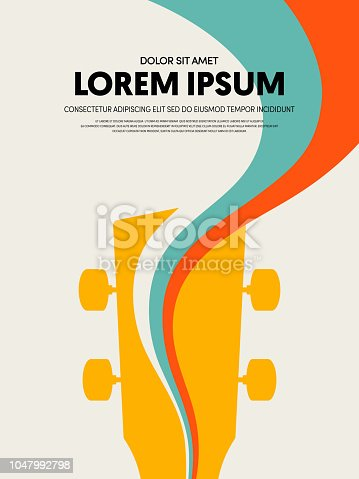 Music festival poster design template modern vintage retro style. Can be used for background, backdrop, banner, brochure, leaflet, publication, advertising, vector illustration