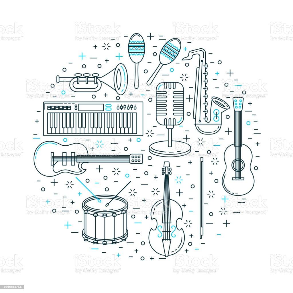 Music festival poster line art vector art illustration