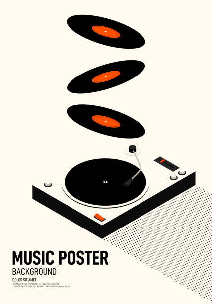 ilustrações, clipart, desenhos animados e ícones de estilo retro do vintage moderno do poster do festival da música - toca discos