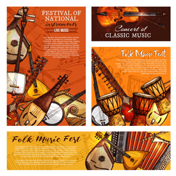 music festival poster of musical instruments - akordeon instrument stock illustrations
