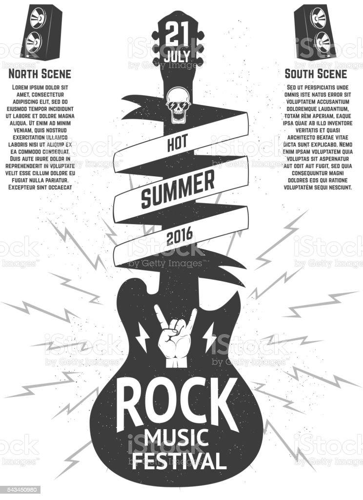 Music festival poster template. Guitar silhouette vector art illustration