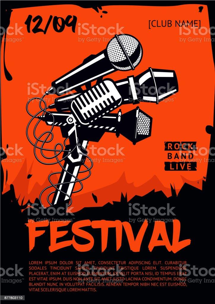 Festival de musique. Modèle de l'affiche. Groupe de rock. - Illustration vectorielle