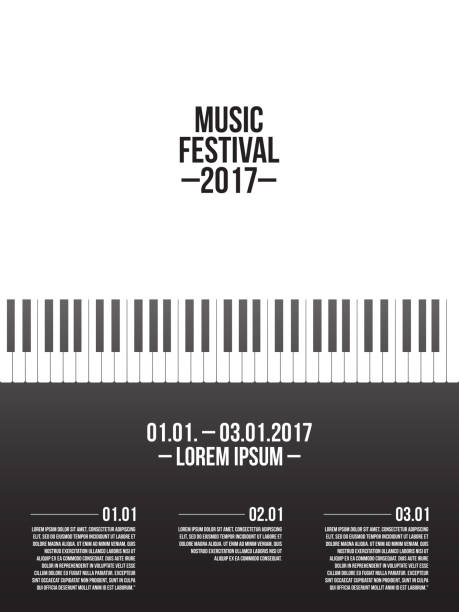 music festival poster template with piano keyboard - pianino instrument klawiszowy stock illustrations