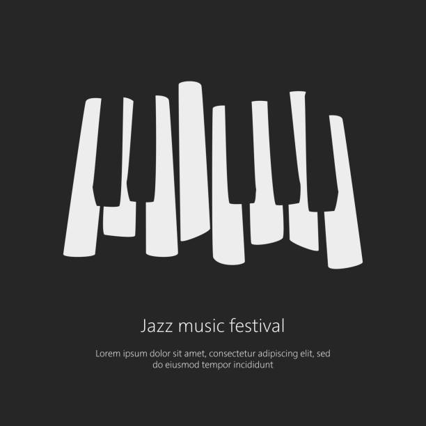 music festival poster template with piano keys. - pianino instrument klawiszowy stock illustrations