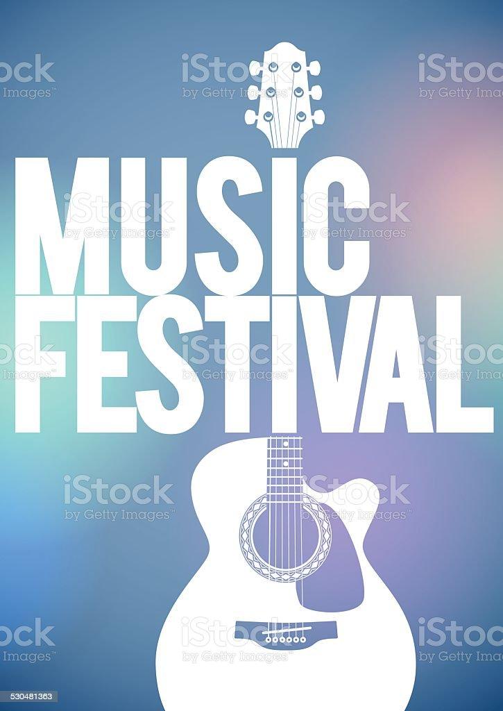 Music Festival poster with acoustic guitar. vektör sanat illüstrasyonu