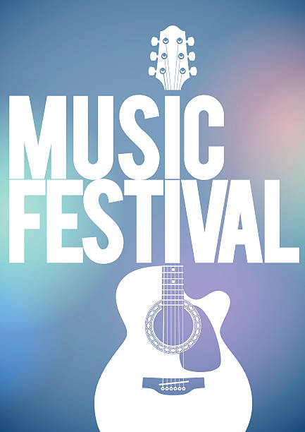 musikfestival-poster mit akustik-gitarre. - blues stock-grafiken, -clipart, -cartoons und -symbole