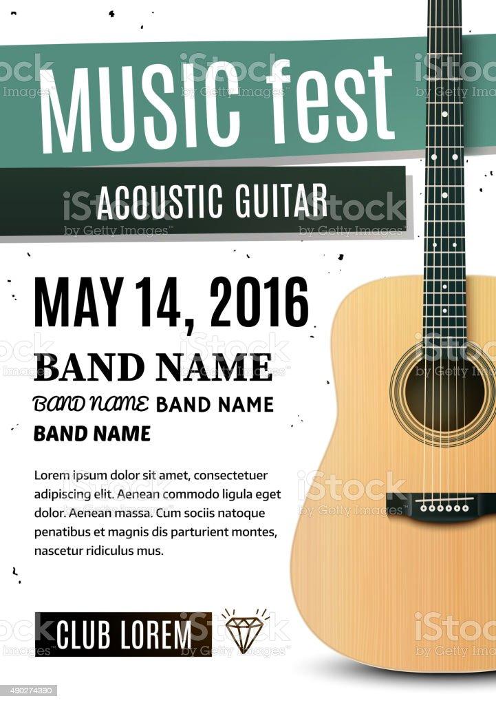 Music festival poster with acoustic guitar. Vector illustration vector art illustration