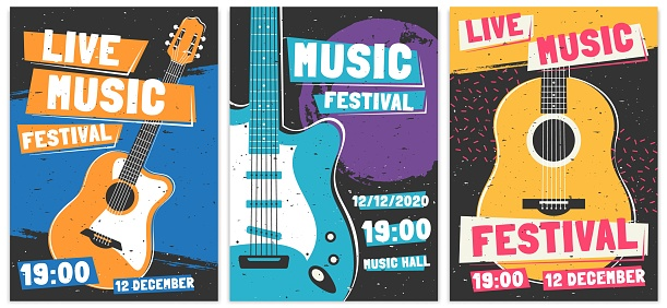 Music festival posters. Live acoustic guitar music concert poster, rock fest flyer and creative brochure template vector set. Rock n roll concert advertising banner concept. Entertainment show promo