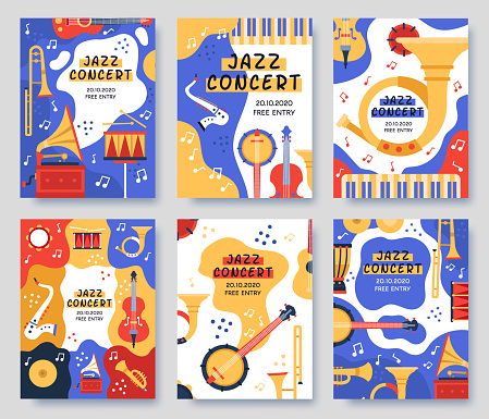 Music festival posters. Musical party or event music instruments abstract banner, jazz concerts invitation brochure, vector illustration set