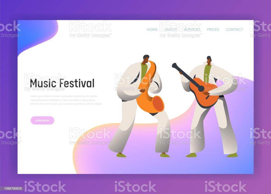 Music Festival saxofon Man karaktär målsida. Manliga spela gitarr i klassisk kostym på Rio de Janeiro Festival. Brasilien Carnival personer för webbplats eller webbsida platt tecknade vektor Illustration - Royaltyfri Boksida vektorgrafik