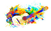 Classical music festival background with guitar, butterfly and treble clef. Digital painting. Vector illustration