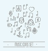 Music festival thin line icons set. Vector illustration