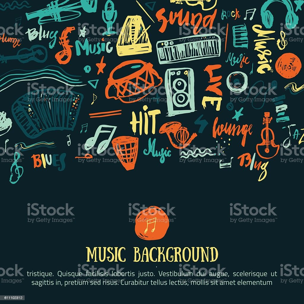 Music festival vector background. Can be used for printable concert vector art illustration