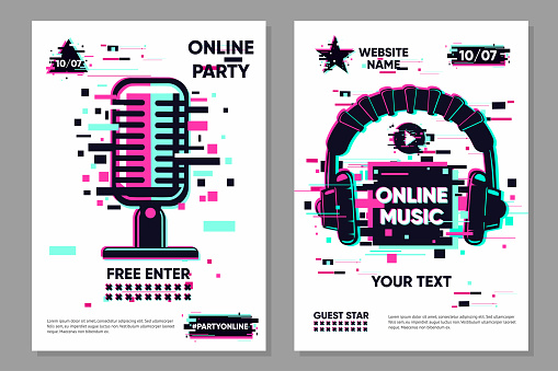 Music festival vector banner. Posters set with microphone and headphones. Online party background, electronic style. Streaming banner. Glitch trendy illustration.